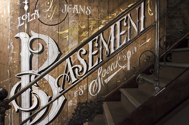 Basement Speak Bar Caligraphy Design Hand Lettering Painted Mural Lola Jeans Newcastle Prohibition Typography Unit44