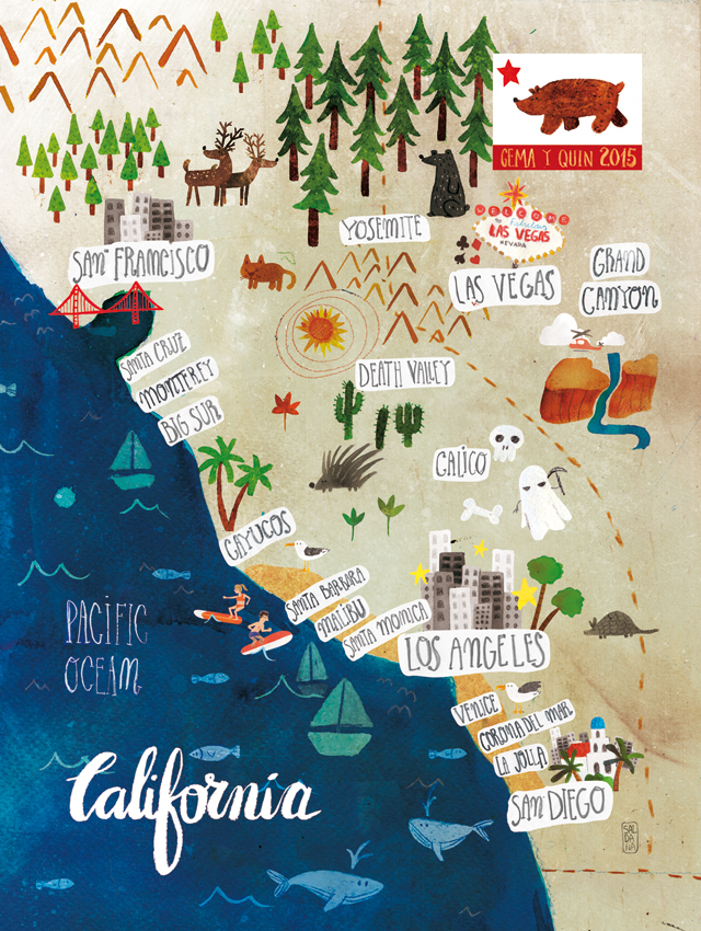 Carmen Saldana Map of California Good Illustration Blog