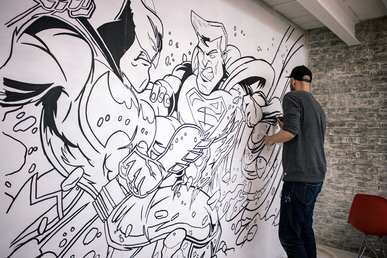 Tags Batman Captain Kris Comic Book Art Graffiti Graffiti Artist Headspace Superman Wall Art Wall Mural